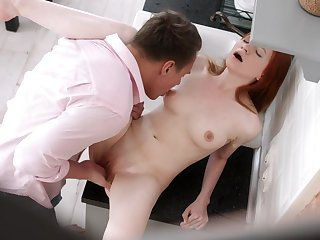 SExy redhead enjoys put emphasize full cock all round both their way tiny holes
