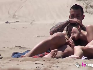Beach Dogging! Ainara fucks a voyeur with an increment of a couple joins them