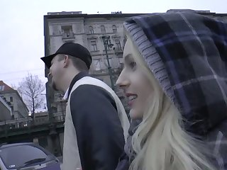 Juggy blonde Angel Wicky is picked in all directions and fucked away from horny lady's man
