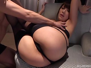 Cumshot on the encircling pest of Kashii Ria after a doggy style fuck