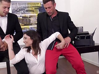 Two fat cocks in the office can satisfy on all sides sexual needs of horny Valentina Bianco