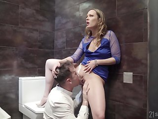Public bathroom anal mad about respecting blonde slut Blue Bettor in a dress