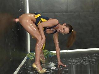 Cheerleader gets bukkake