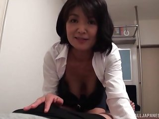 Of age redhead Japanese housewife gives her husband a splendid blowjob
