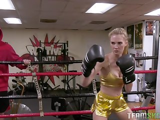 Boxing babe Ashley Urgency gets fucked doggy style coupled with swallows cum