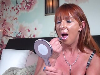 Redhead mature amateur solo model Saskia M. stuffs say no to pussy with toys