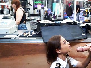 Latina stewardess swell up big dick in pawnshop