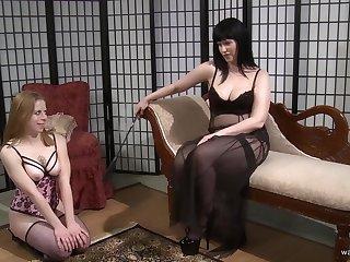 Lesbian sluts in underwear take turns with a massive strap on
