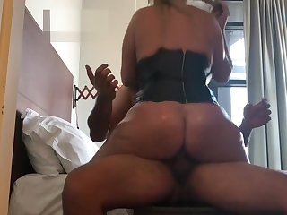 obese gut bouncing as she rides for creampie