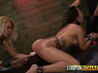 Team a few complete whores punish pledged bitch Ava Kelly in the BDSM room