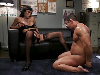 Median Asian shemale ass fucks man not far from dirty affray