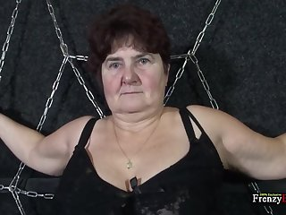 Chained chubby granny Hana gives a blowjob appropriately on her knees