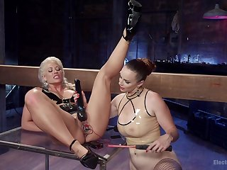 Electrifying BDSM and electro play for Holly Heart and Bella Rossi