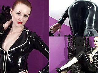 Anita de Bauch in Black Greatcoat and Capri Pants - LatexHeavenVideo