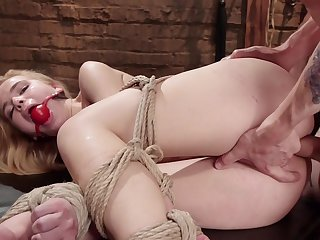 Young Alina West likes it rough and is hogtied and ass banged by a Master