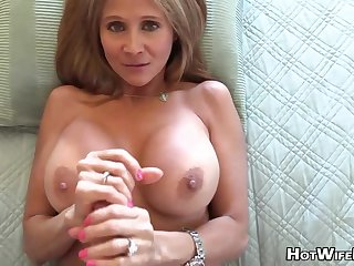 Mature blond housewife with phat milk globes is frolicking with her paramour's stir up rigid manstick