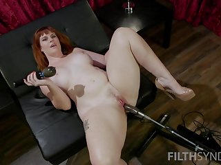 White-hot haired plumper Barbary Rose is testing new sex outfit and vibrator