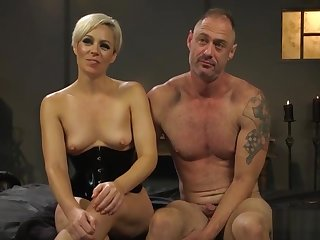Blonde babe enjoys fucking a dude with strapon