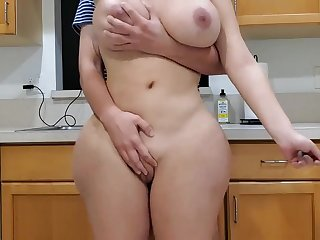 Scorching mother with an increment of sonny in kitchen