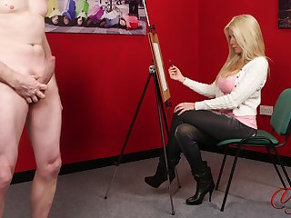 CFNM video of downcast Emma C painting a naked male model. HD